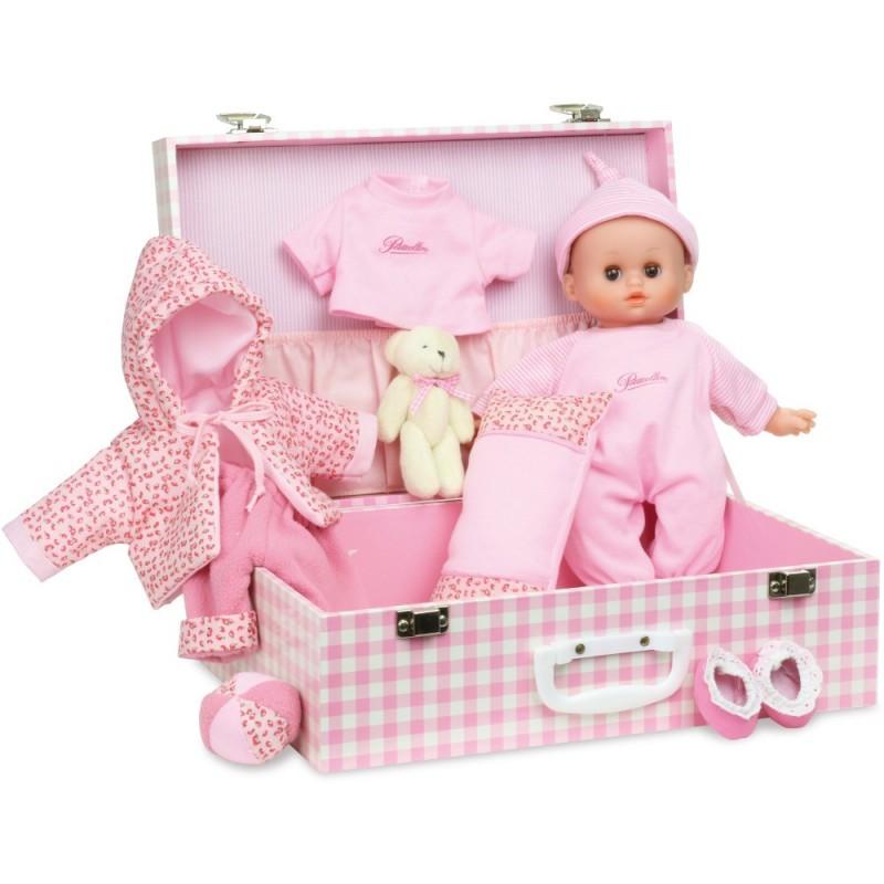 Bobas 28cm Delia z różową walizką i akcesoriami, Petitcollin