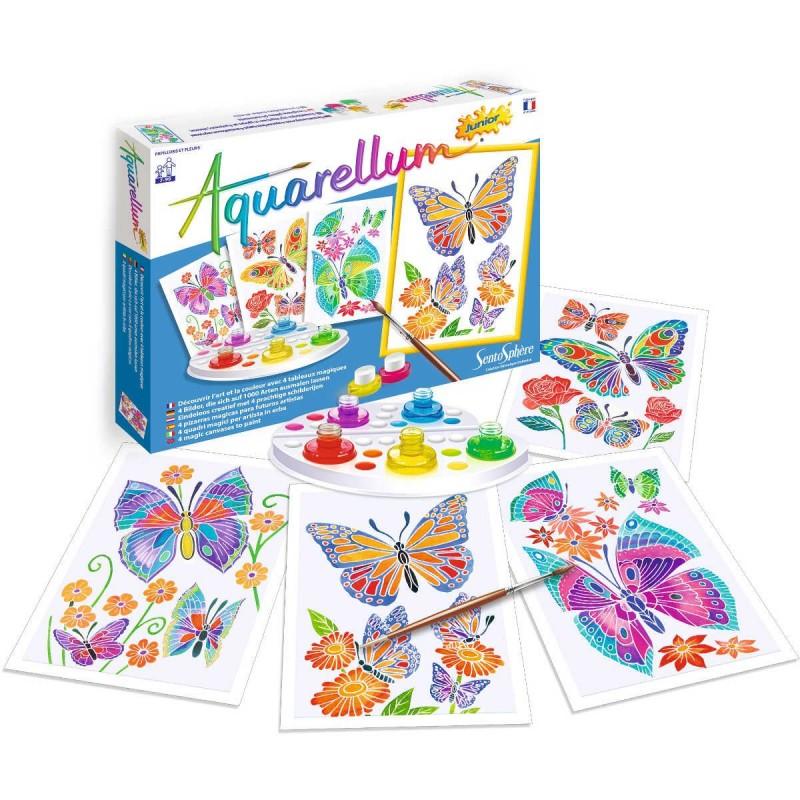 Aquarellum Motyle i Kwiaty 4 obrazy i farby, SentoSphere
