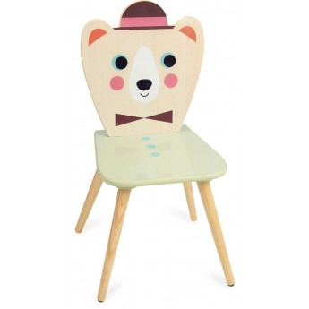 Krzesło drewniane dla dzieci Miś z Kapeluszem -I.P. Arrhenius, Vilac