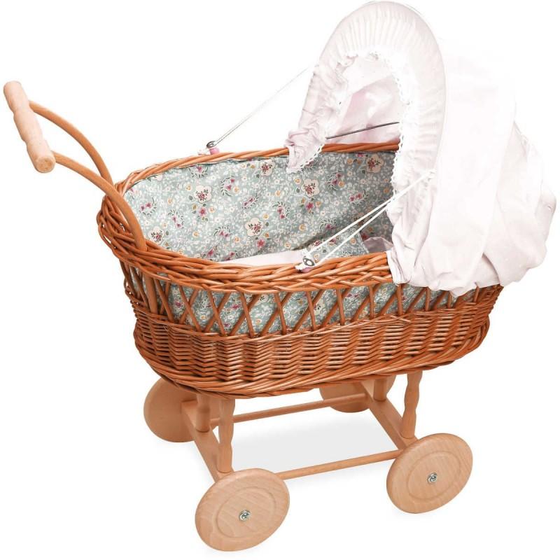 Wózek wiklinowy dla lalek pościel zielona w kwiatki, Petitcollin