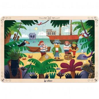 Duże puzzle Piraci 42 elementy na drewnianej planszy od 4 lat