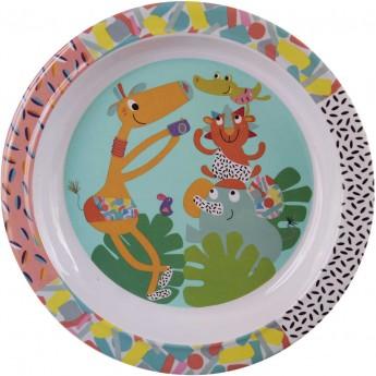 Talerz dla dziecka Jungle Booggie płaski duży 21 cm, Ebulobo
