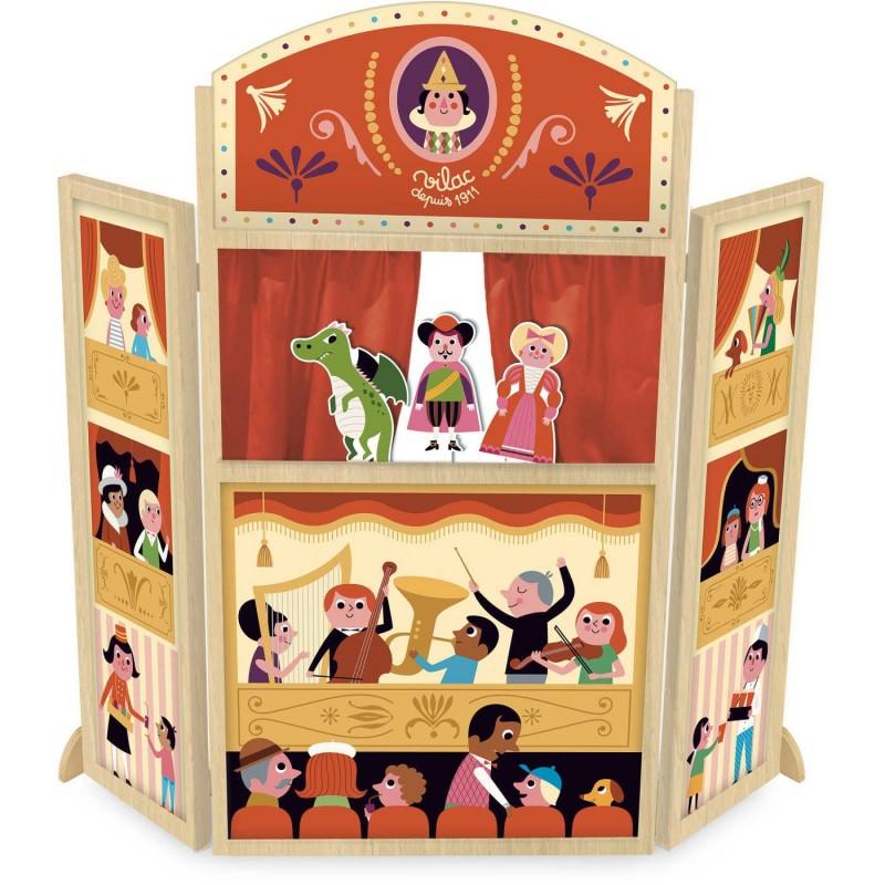 Duży teatrzyk drewniany z 3 kukiełkami dla dzieci +3 Vilac   Dadum