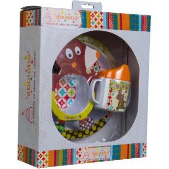 Zestaw obiadowy dla niemowląt Miś WoodOurs 4 elementy, Ebulobo