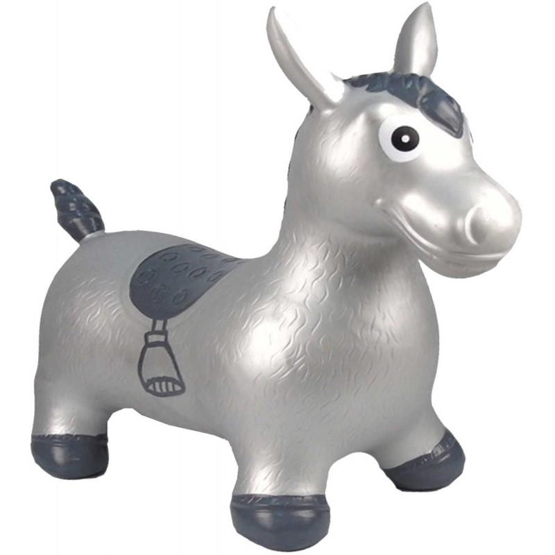 Skoczek gumowy Koń Srebrny XL dla dzieci od 5 lat, Happy Hopperz