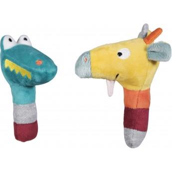 Grzechotki marakasy Krokodyl i Żyrafa Billie dla niemowląt od 0mc, Ebulobo