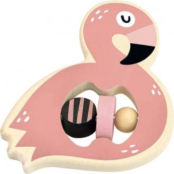Grzechotka Flamingo drewniana dla niemowląt, Vilac