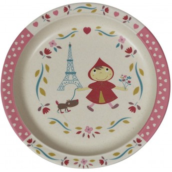 Talerz obiadowy dla dziecka bambusowy Czerwony Kapturek, Ebulobo