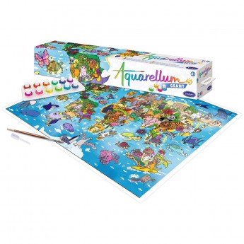 Aquarellum Mapa Świata plakat do malowania i farby, SentoSphere