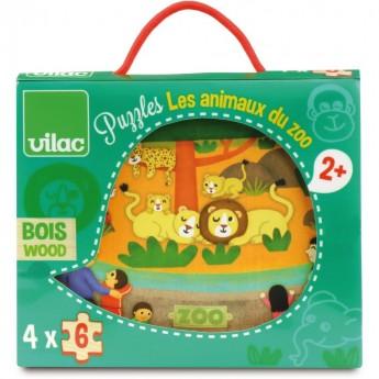 Vilac Zoo 4 drewniane puzzle 6 elementów 2642