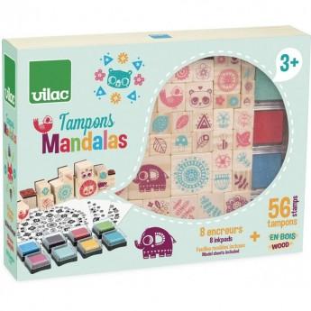 Vilac drewniane stempelki Mandala 64 sztuk dla dzieci +4