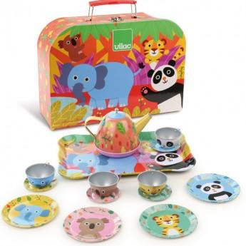 Serwis dla lalek Dżungla metalowy w walizce, Vilac