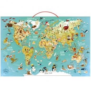 Mapa Świąta puzzle magnetyczne 78 elementów drewniane, Vilac