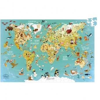 Mapa Świąta puzzle 500 elementów, Vilac